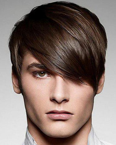 Unique Fashion Silky Straight Short Synthetic Stunning Deep Brown Capless Inclined Bang Wig For Men
