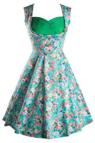 Latest Retro Sweetheart Neck Sleeveless Ruched Floral Print Women's Dress