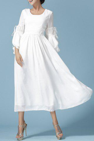 Latest Vintage Scoop Neck Solid Color Flare Sleeve Dress For Women WHITE M