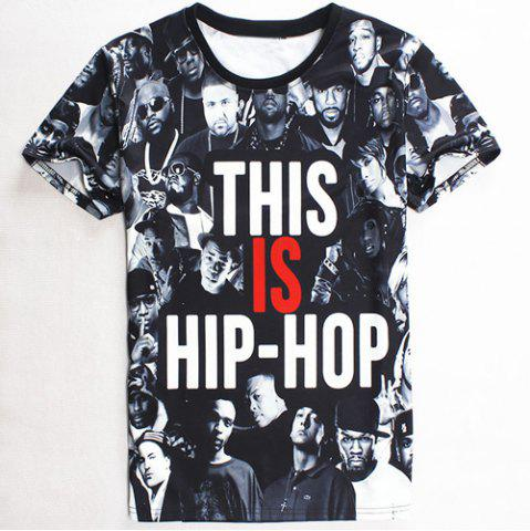 Chic Slimming Round Neck 3D Super Star and Letter Print Short Sleeve Men's T-Shirt