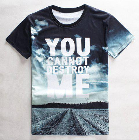 Outfits Slimming Round Neck 3D Sky Letter Print Short Sleeve Men's Graphic T-Shirt