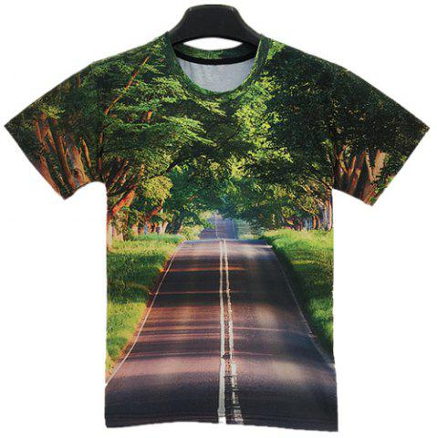 Fashion Slimming Round Neck 3D Avenue Print Short Sleeve Men's T-Shirt