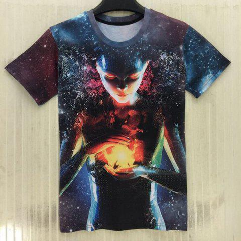 Outfit Round Neck 3D Starry Sky Extra-Terrestrial Print Slimming Short Sleeve Men's T-Shirt