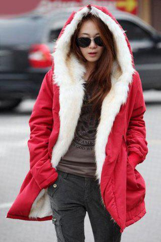 Casual Hooded Candy Color Long Sleeve Coat For Women - Red - Xl