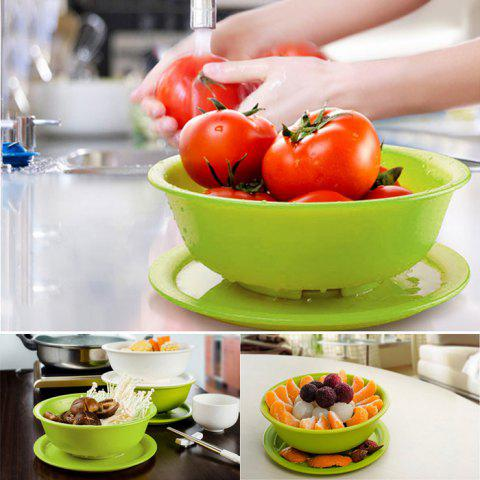 New Multi-functional Drain Fruit / Vegetable Bowl Pores Bottom Storage Basket with Cover Easy Kitchen Tools