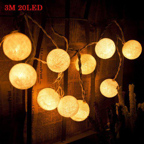Fancy 3M 20 LED Cotton Ball LED String Light for Christmas Party Holiday Wedding - 220V