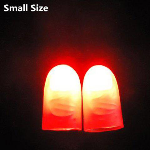 Sale 2Pcs Soft Flashing Thumb Tip Finger Fake Magic Trick Performance Props Halloween Decorations - SIZE S RED Mobile
