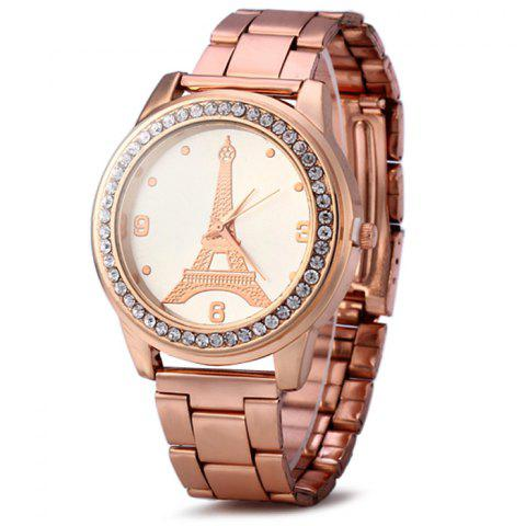 Outfits Eiffel Tower Women Diamond Quartz Watch with Stainless Steel Band