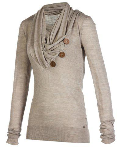 Outfit Stylish Cowl Neck Long Sleeve Button Design Draped Women's Sweatshirt LIGHT BROWN M