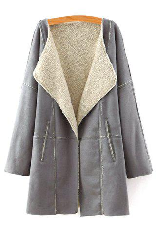 Chic Stylish Turn Down Collar Long Sleeve Lamb Wool Women's Coat