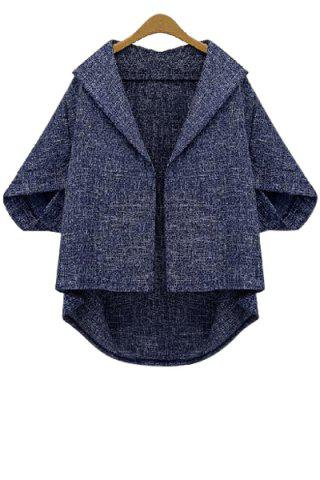 Store Batwing Sleeve Plus Size Wool Cape Jacket
