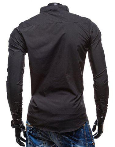 Online Slimming Stand Collar Personality Button Fly Hit Color Covered Edge Men's Long Sleeves Shirt - 2XL BLACK Mobile