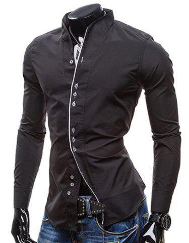 Outfit Slimming Stand Collar Personality Button Fly Hit Color Covered Edge Men's Long Sleeves Shirt BLACK 2XL