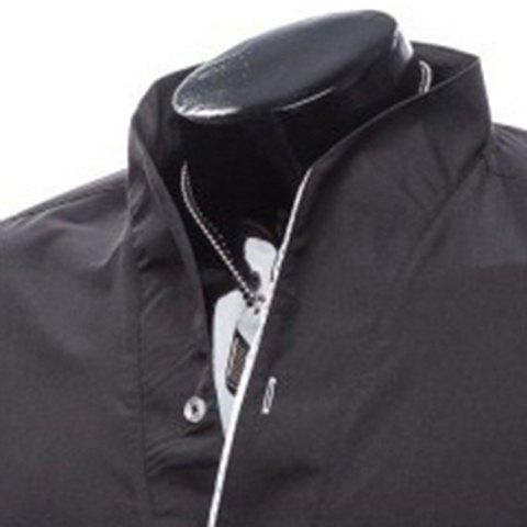 Latest Slimming Stand Collar Personality Button Fly Hit Color Covered Edge Men's Long Sleeves Shirt - 2XL BLACK Mobile