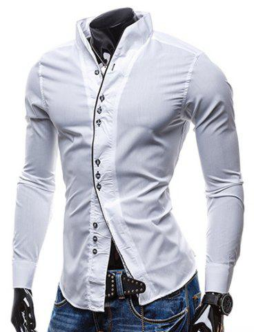 Online Slimming Stand Collar Personality Button Fly Hit Color Covered Edge Men's Long Sleeves Shirt WHITE M
