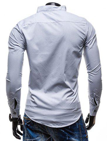 Latest Slimming Stand Collar Personality Button Fly Hit Color Covered Edge Men's Long Sleeves Shirt - M WHITE Mobile