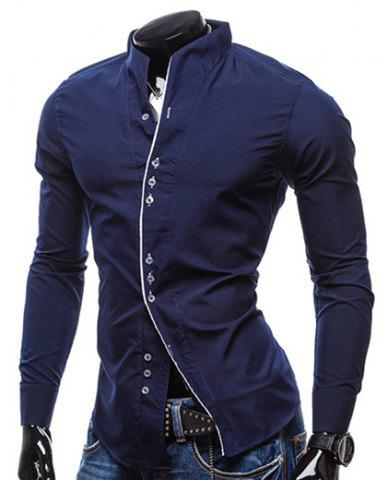 Slimming Stand Collar Personality Button Fly Hit Color Covered Edge Men's Long Sleeves Shirt - Cadetblue - M