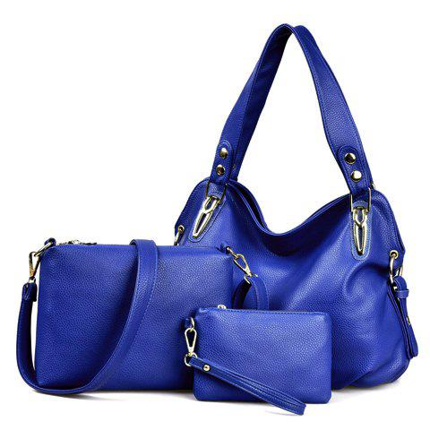 Chic Simple Solid Color and Rivets Design Women's Shoulder Bag