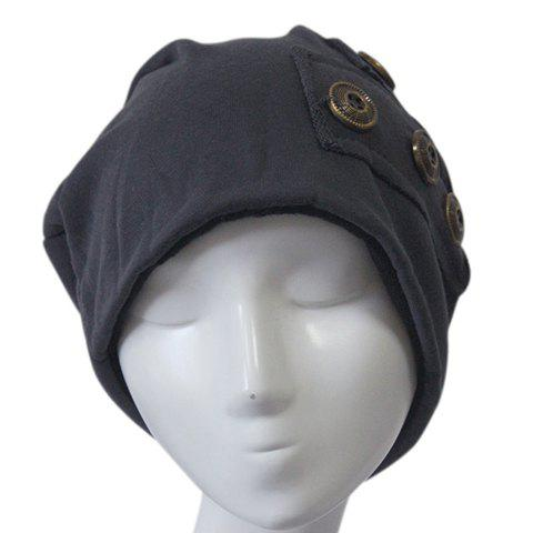Discount Stylish Buttons and Patch Embellished Knitted Beanie For Men