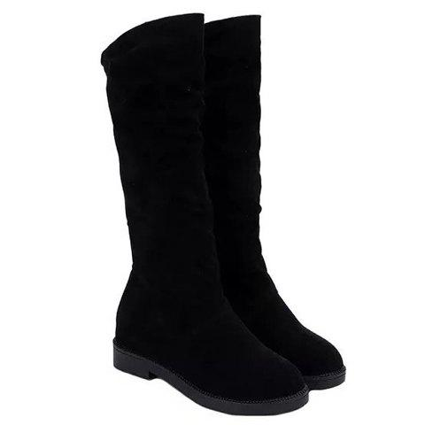 Fancy Concise Solid Color and Suede Design Women's Mid-Calf Boots