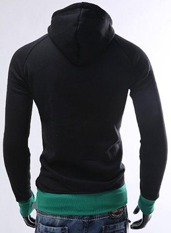 Latest Inclined Zipper Classic Color Lump Splicing Rib Hem Slimming Hooded Long Sleeves Men's Hoodie - M GREEN Mobile