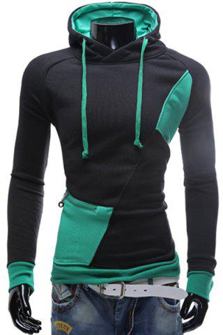 Latest Inclined Zipper Classic Color Lump Splicing Rib Hem Slimming Hooded Long Sleeves Men's Hoodie - GREEN XL Mobile