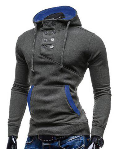Chic Trendy Hooded Double Breasted Pocket Hemming Slimming Long Sleeve Cotton Blend Hoodie For Men - M GRAY Mobile
