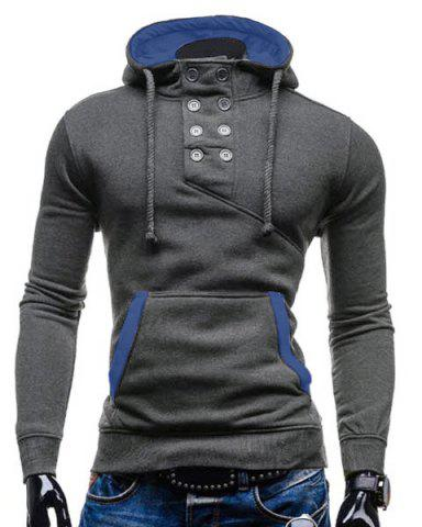 Outfit Trendy Hooded Double Breasted Pocket Hemming Slimming Long Sleeve Cotton Blend Hoodie For Men GRAY L