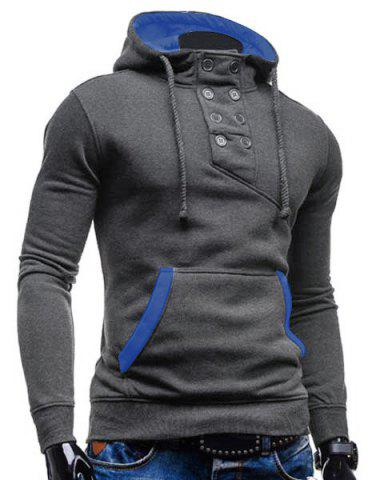 Latest Trendy Hooded Double Breasted Pocket Hemming Slimming Long Sleeve Cotton Blend Hoodie For Men - GRAY XL Mobile