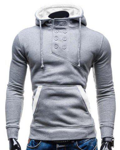 Shop Trendy Hooded Double Breasted Pocket Hemming Slimming Long Sleeve Cotton Blend Hoodie For Men - M COLORMIX Mobile