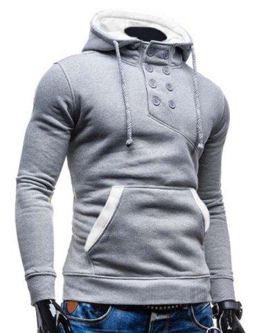 Discount Trendy Hooded Double Breasted Pocket Hemming Slimming Long Sleeve Cotton Blend Hoodie For Men - COLORMIX XL Mobile