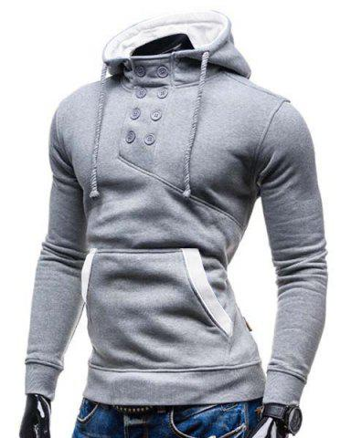 New Trendy Hooded Double Breasted Pocket Hemming Slimming Long Sleeve Cotton Blend Hoodie For Men - COLORMIX 2XL Mobile