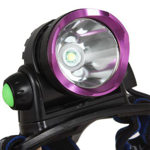 Fashion Outdoor Camping Cree XM-L T6 LED 1600 Lumen Scalable Headlight with 3 Modes for Night Cycling / Fishing - PURPLE  Mobile