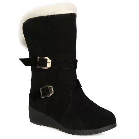 Affordable Fur Trim Wedge Heel Mid Calf Boots BLACK 38