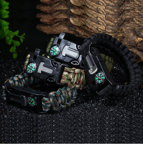 Shops 5 in 1 Outdoor Survival Gear Escape Paracord Bracelet Flint / Whistle / Compass / Scraper - BLACK  Mobile