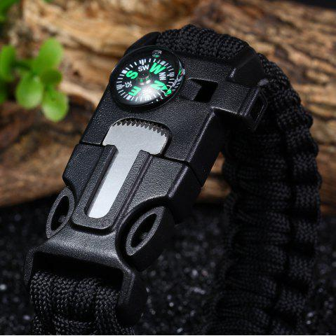 Best 5 in 1 Outdoor Survival Gear Escape Paracord Bracelet Flint / Whistle / Compass / Scraper - BLACK  Mobile