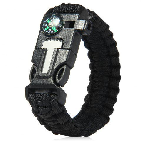 5 in 1 Outdoor Survival Gear Escape Paracord Bracelet Flint / Whistle / Compass / Scraper - Black