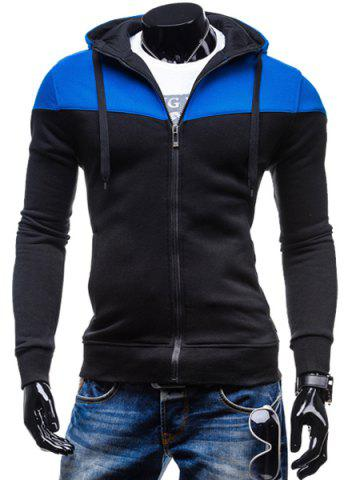 Fashion Two-Tone Spliced Front Pocket Slimming Hooded Long Sleeves Men's Zip Up Hoodie - Black - L