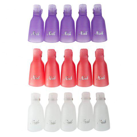 Unique Professional Reusable Plastic Nail Art Soakers with Cap Clip for UV Gel Polish Remover Wrap Tool - PURPLE  Mobile