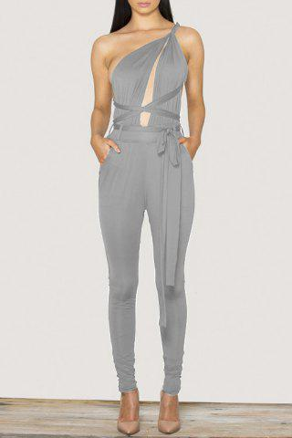 Stylish Plunging Neck Sleeveless Solid Color Open Back Tie-Up Women's Jumpsuit - Gray - S