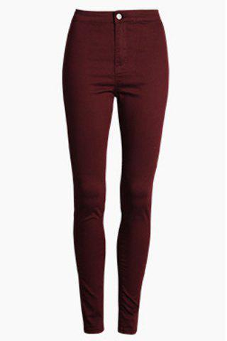 Stylish High Waisted Candy Color Women's Pants - Deep Red - 2xl