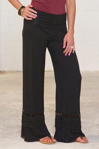 Casual High-Waisted Solid Color Wide Leg Lace Spliced Women's Pants - Black - Xl
