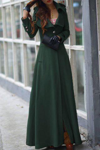 Sale Stylish Lapel Long Sleeve One Button Women's Faux Wool Coat BLACKISH GREEN L
