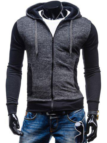 Trendy Sports Lacing Hooded Zipper Pocket Color Block Rib Hem Long Sleeves Men's Slim Fit Hoodie
