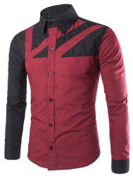 Stylish Slimming Shirt Collar Color Block Irregular Splicing Long Sleeve Polyester Shirt For Men