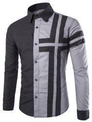 Trendy Slimming Shirt Collar Color Block Cross Pattern Splicing Long Sleeve Polyester Shirt For Men -