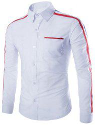 Stylish Slimming Shirt Collar Color Block Stripe Ribbon Design Long Sleeve Polyester Shirt For Men