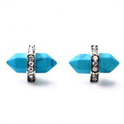 Pair of Vintage Bullet Shape Faux Turquoise Earrings -