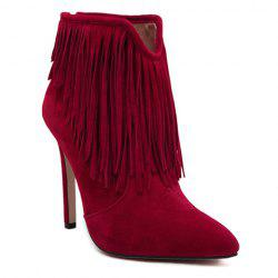 Sexy Suede and Fringe Design Women's Ankle Boots - RED