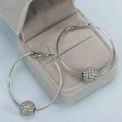 Rhinestoned Bead Hoop Earrings -